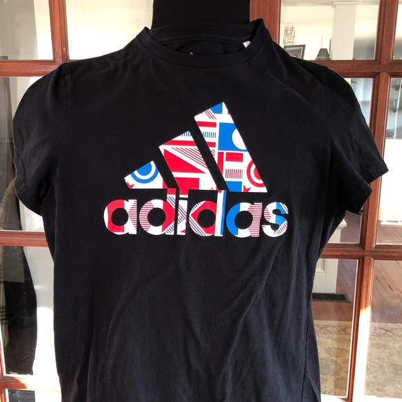 red and blue adidas shirt